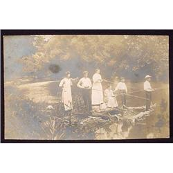 VINTAGE RPPC REAL PHOTO POSTCARD OF WOMEN FISHING