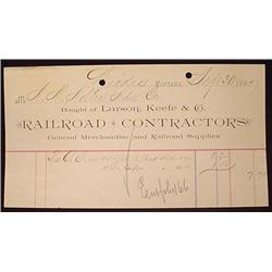 1887 LARSON, KEEFE AND CO. RAILROAD CONTRACTORS BI
