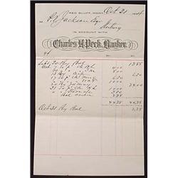 1894 CHARLES PECK BANKER BILLHEAD - RED BLUFF, MON