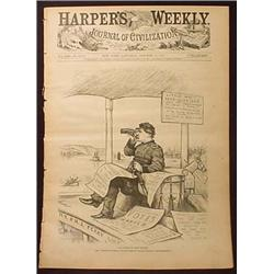 1877 HARPER'S WEEKLY MAGAZINE W/ ARTICLE ON GEN. C