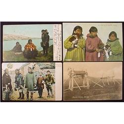 LOT OF 4 VINTAGE ALASKIAN POSTCARDS - Incl. Esquim