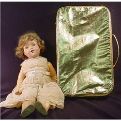 VINTAGE COMPOSITION DOLL W/ SUITCASE AND CLOTHES -