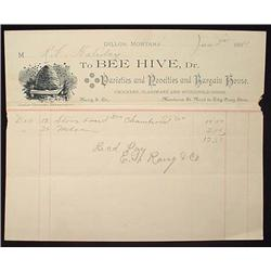 1889 BEE HIVE STORE BILLHEAD - DILLON MONT. TERRIT