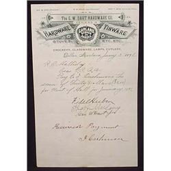 1891 G.W. DART HARDWARE CO LETTERHEAD - DILLON, MO