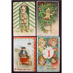 LOT OF 4 VINTAGE EMBOSSED NEW YEAR POSTCARDS - 2 A
