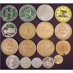 LOT OF 17 VINTAGE TOKENS