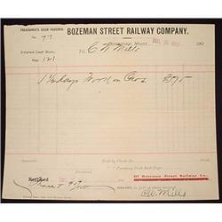 1902 BOZEMAN STREET RAILWAY CO. BILLHEAD - BOZEMAN