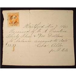 1866 HARTFORD, CT RECEIPT W/ INTERNAL REVENUE STAM