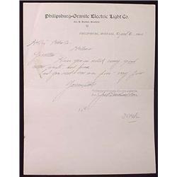 1895 PHILIPSBURG-GRANITE ELECTRIC LIGHT CO. LETTER