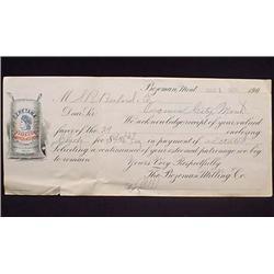 1904 BOZEMAN MILLING CO. CHECK RECEIPT - BOZEMAN,