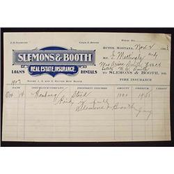 1903 SLEMONS AND BOOTH REAL ESTATE BILLHEAD - BUTT