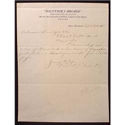 1910 PRE PROHIBITION POLUTNIK'S ARCADE SALOON LETT