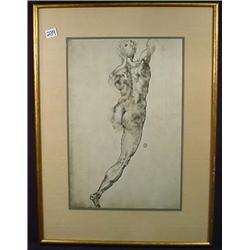 """VINTAGE NUDE DRAWING - FRAMED - Approx. 20"""" by 15"""""""