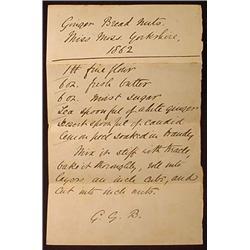 1862 HANDWRITTEN RECIPE FOR GINGER BREAD