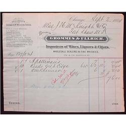 1884 GROMMES AND ULLRICH WINES LIQUORS CIGARS BILL