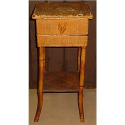 VINTAGE BAMBOO AND WICKER SIDETABLE SEWING BASKET