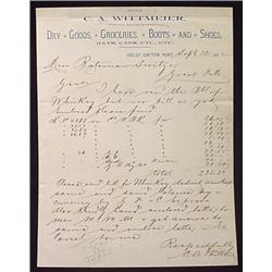1892 C.A. WITMEIER DRY GOODS ETC LETTERHEAD - SHEL