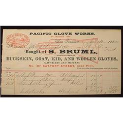 1885 PACIFIC GLOVE WORKS BILLHEAD - SAN FRANCISCO