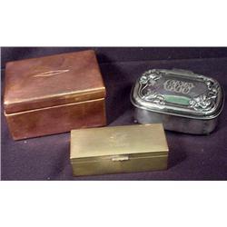 LOT OF 3 VINTAGE TRINKET BOXES - 1 IS COPPER