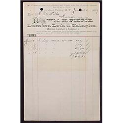 1887 WM H. PIERCE LUMBER LATH AND SHINGLES BILLHEA