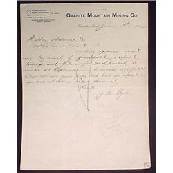 1892 GRANITE MOUNTAIN MINING CO LETTERHEAD - GRANI