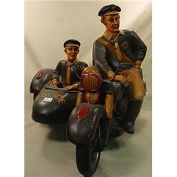 NICE MOTORCYCLE AND SIDECAR STATUE - Looks like th