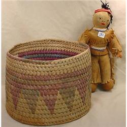 VINTAGE NATIVE AMERICAN DOLL AND WOVEN BASKET
