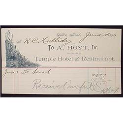 1890 A. HOYT TEMPLE HOTEL AND RESTAURANT BILLHEAD