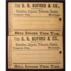 LOT OF 2 SR BUFORD AND CO FREIGHT TAGS - VIRGINIA