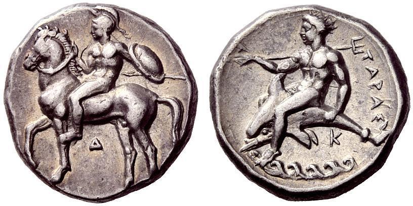 CALABRIA, Tarentum. Exquisite Nomos. Ancient Greek Silver
