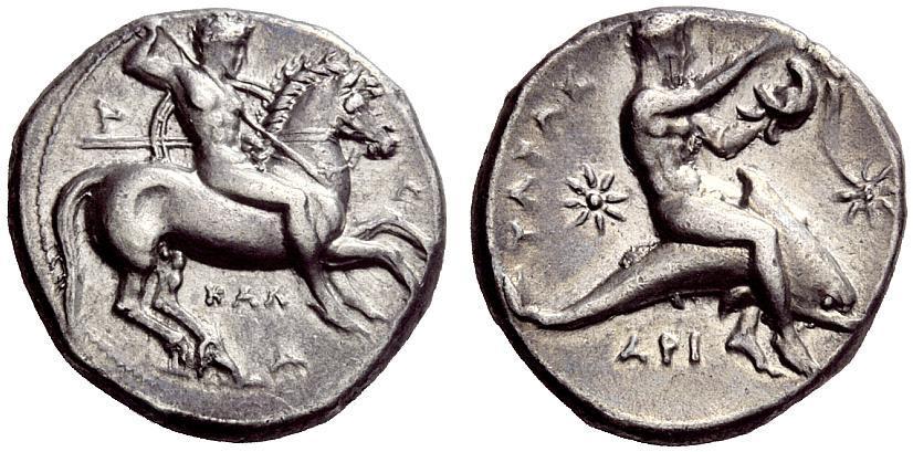 Calabria, Tarentum. 325-280 B.C. AR diobol. Ex Coin