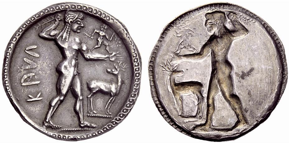 Greek coins, Bruttium, Caulonia, Nomos