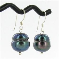Saltwater Baroque Black Pearl Earrings (JEW-250L)