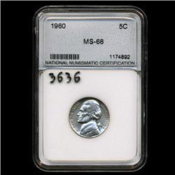 1960 Jefferson 5c Nickel Coin Graded MS68 (COI-3636)