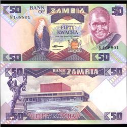 1986 Zambia 50 Kwacha Parrot Note Crisp Unc SCARCE (COI-3714)