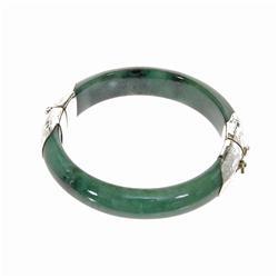 Jade Sterling Hinged Bangle Bracelet (JEW-132)