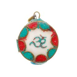 Vintage Tibet Shell Turquoise Red Coral Pendant (ANT-523)