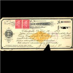 1899 Bank of Ellicottville Document Bill (COI-3098)