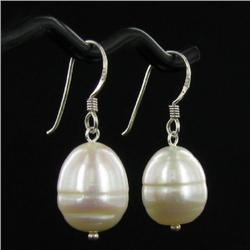 Saltwater Baroque White Pearl Earrings (JEW-250B)