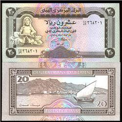 1990 Yemen 20 Rials Crisp Unc Note Note (COI-3821)