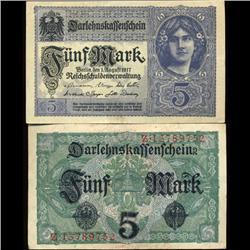 1917 Germany 5 Mark Note Hi Grade Rare (COI-3945)