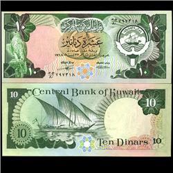1968 Kuwait Scarce 10 Dinar Crisp Unc Note (COI-3718)