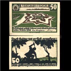 1922 50 Pfennig Vechtae Germany RARE Crisp Unc Note (COI-3725)