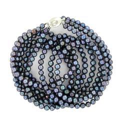 Black Saltwater Pearl Three Strand Necklace (JEW-250M)
