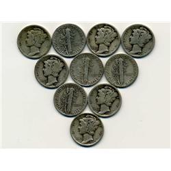 10 US Mercury Dime Coin Lot (COI-309A)