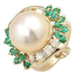 Exquisite 14K Diamond Emerald Golden Pearl Ring 1.85 Ct $15995  (JEW-358)