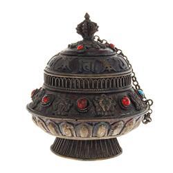 Tibet Brass Prayer Scroll Canister (ANT-458)