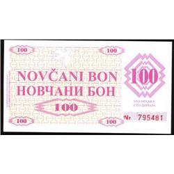 1992 Bosnia Rare 100 Dinara Note CU (COI-1204)
