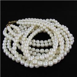 White Saltwater Pearl Three Strand Necklace (JEW-250C)