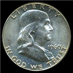 1960 Franklin Half Dollar Coin Unc Gem+ FBL (COI-3911)